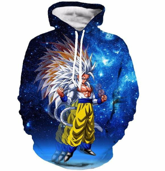 Super Saiyan 5 Goku SSJ5 Space Galaxy 3D Blue Fashion Hoodie - Saiyan Stuff