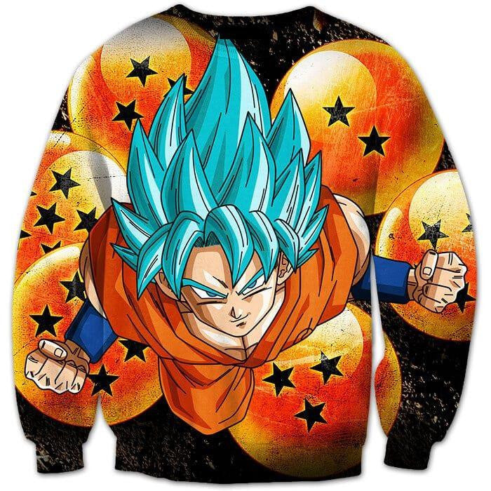 Super Saiyan God (Blue) Goku and the 7 Crystal Dragon Balls 3D Sweatshirt - Saiyan Stuff