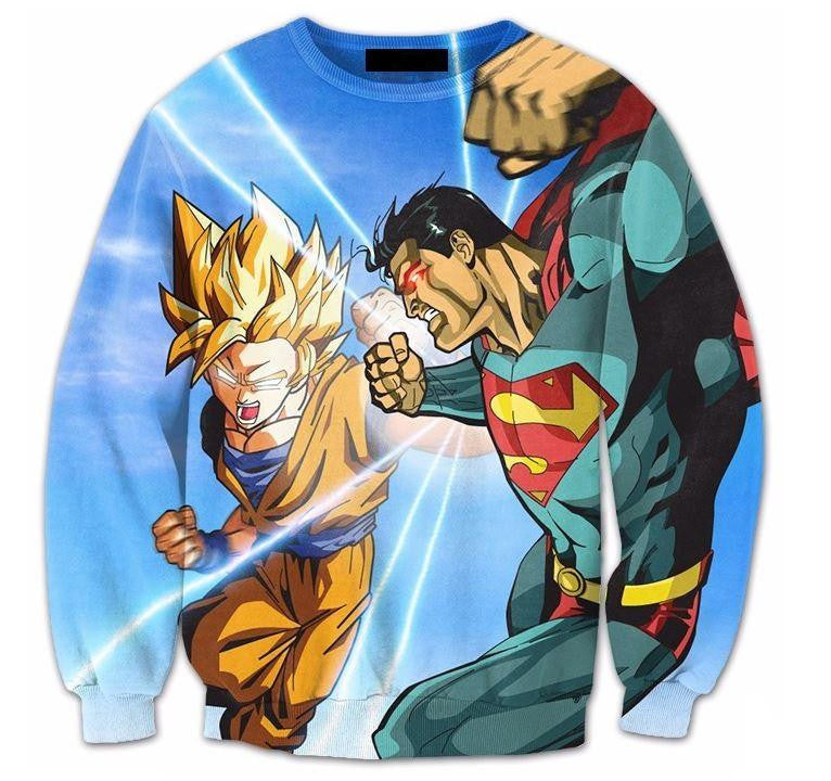 Super Saiyan Goku Versus Superman Battle 3D Sweatshirt - Saiyan Stuff