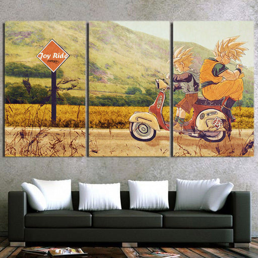 DBZ Goku And Gohan Joy Ride Awesome 3pcs Horizontal Wall Art Decor Canvas