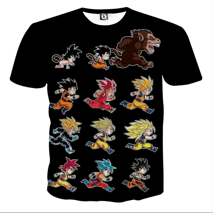 Dragon Ball Anime Son Goku All Form Transformation T-shirt
