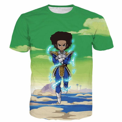 The Boondocks Huey Freeman Wearing Saiyan Armor Rap 3D T-Shirt - Saiyan Stuff