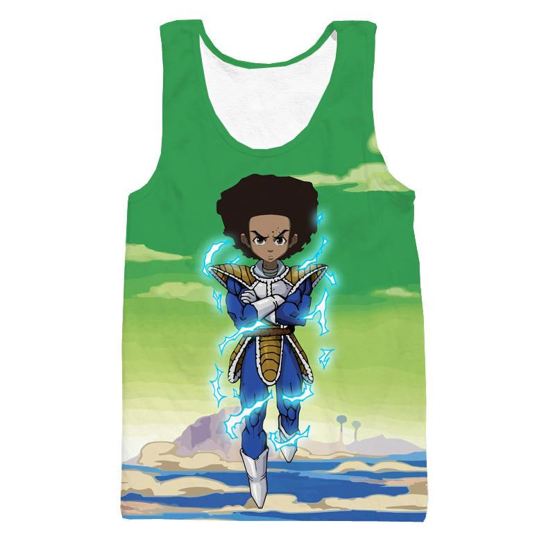 The Boondocks Huey Freeman Wearing Saiyan Armor Rap Tank Top - Saiyan Stuff - 1