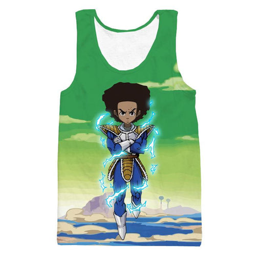 The Boondocks Huey Freeman Wearing Saiyan Armor Rap Tank Top - Saiyan Stuff