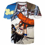 The Naughty Kid Goku and Korin Wise Cat Dragonball T- Shirt - Saiyan Stuff - 1