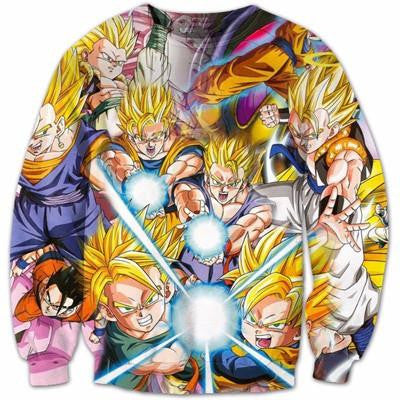 The Super Saiyan Kamehameha Attack Artwear Epic 3D Sweatshirt - Saiyan Stuff