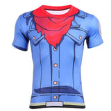 Trunks Blue Jacket Cosplay Compression 3D Workout T-Shirt