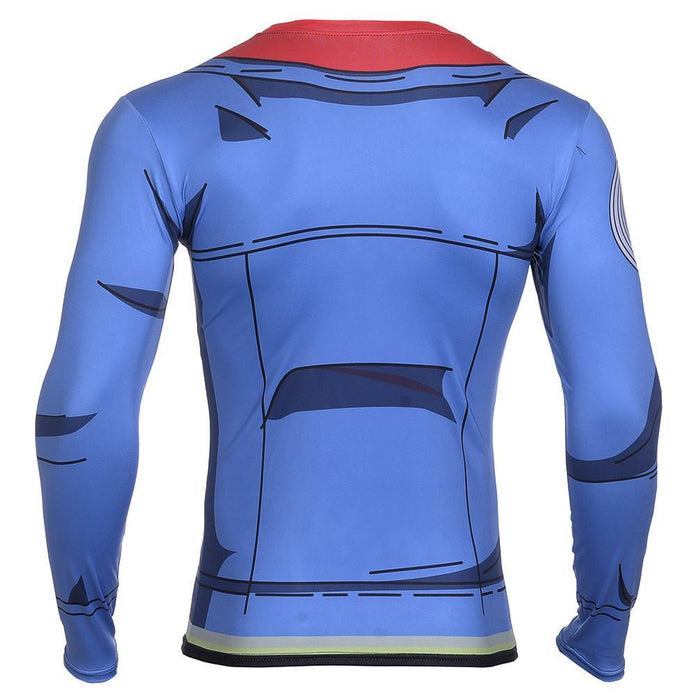 Trunks Blue Jacket Cosplay Gym Long Sleeves 3D Workout T-Shirt