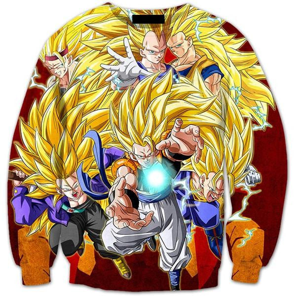 ultimate super saiyan ssj3 fusion warriors premium 3d sweatshirt