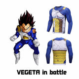Vegeta Damaged Saiyan Armor Workout Long Sleeves Compression 3D Shirt - Saiyan Stuff