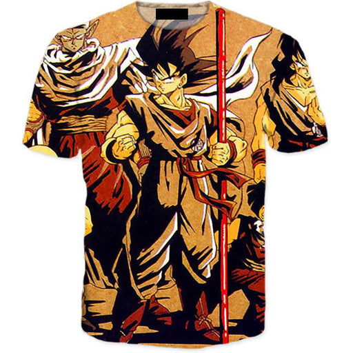 Vintage 90s Dragon Ball Z Main Characters 3D T-Shirt - Saiyan Stuff