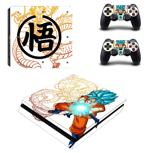 Dragon Ball Son Goku God Blue Dope Kamehameha PS4 Slim Skin