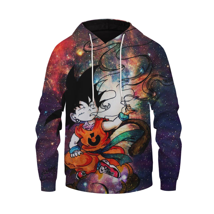DBZ Smoking Kid Goku Outer Space Galaxy 3D Blue Hoodie
