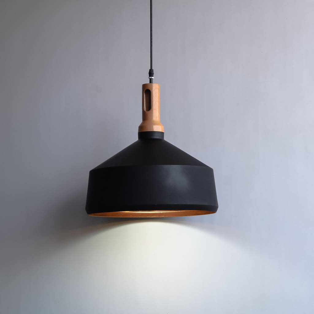 14inch Mid-Century Modern Black Gold Large Size Pendant Lamp - The Black Steel