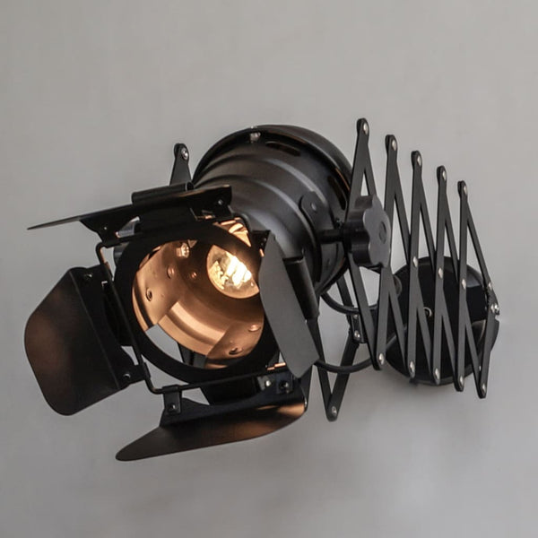 1950s Extendable Scissor Arm Industrial Look Wall Sconce and Ceiling Lamp - The Black Steel