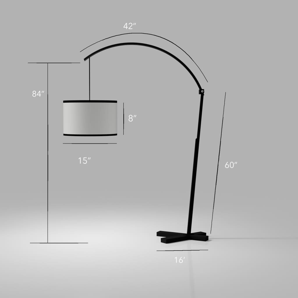 5th Avenue Curved-Arm Black Floor Lamp