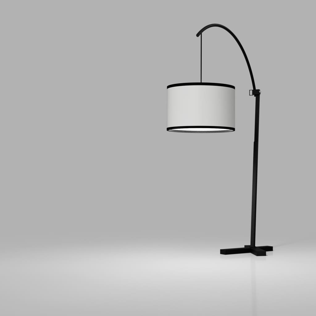 5th Avenue Curved-Arm Black Floor Lamp - The Black Steel