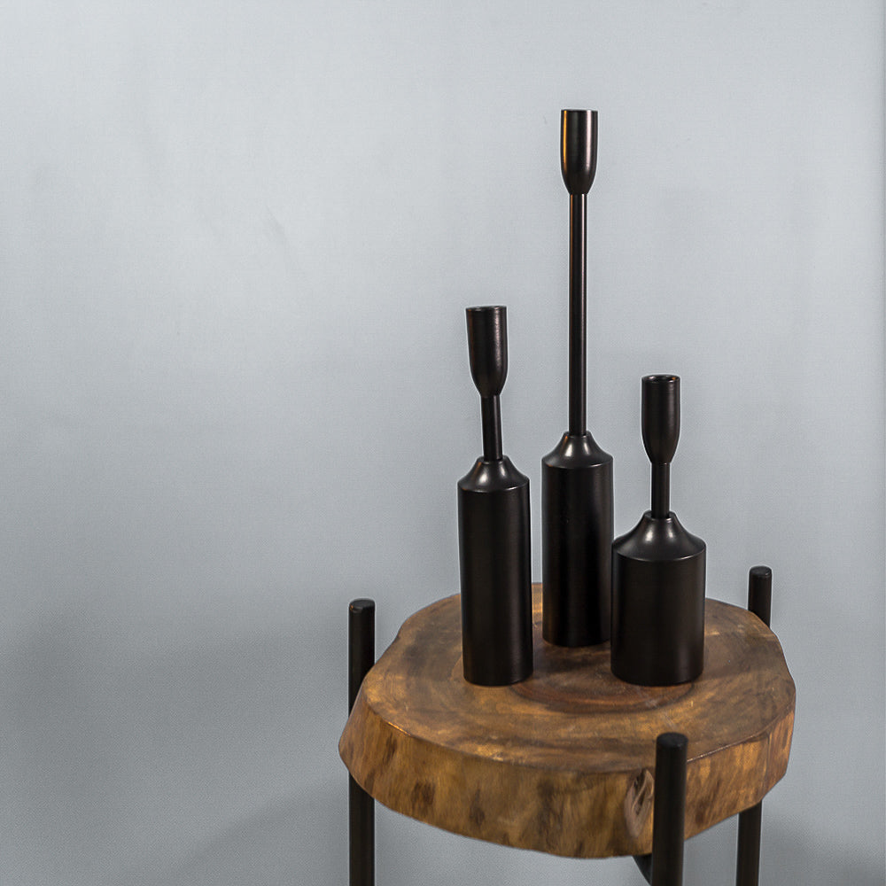 Metal Candle holder - The Black Steel