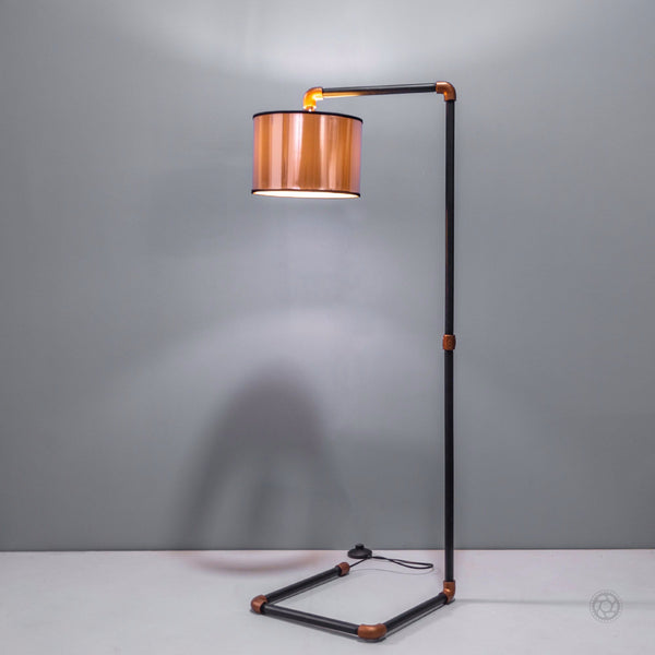 Jazz Steampunk Pipe Design Industrial Floor Lamp - The Black Steel