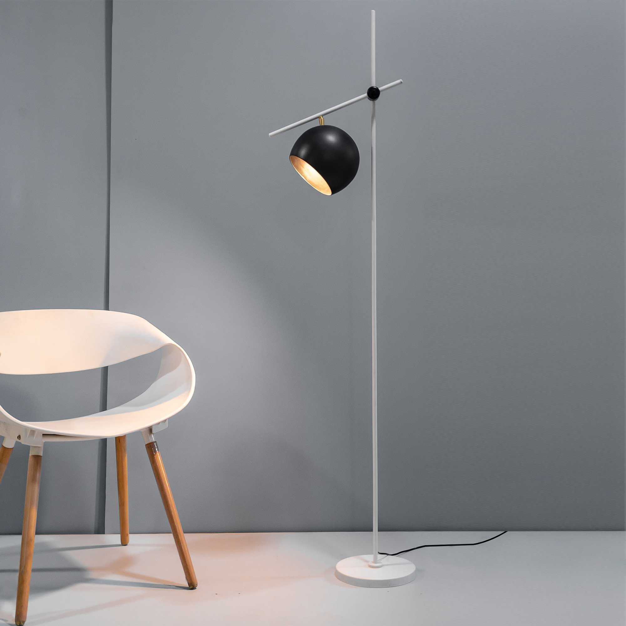 Chester Black and White Contemporary Floor Lamp