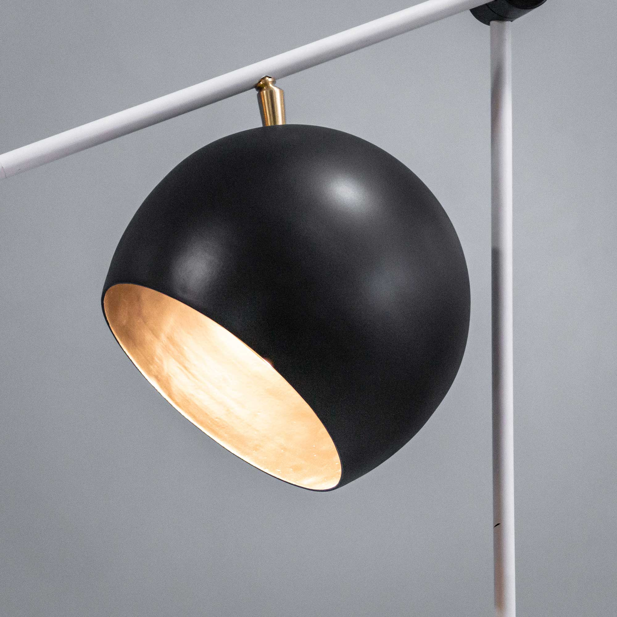 Chester Black and White Contemporary Floor Lamp - The Black Steel