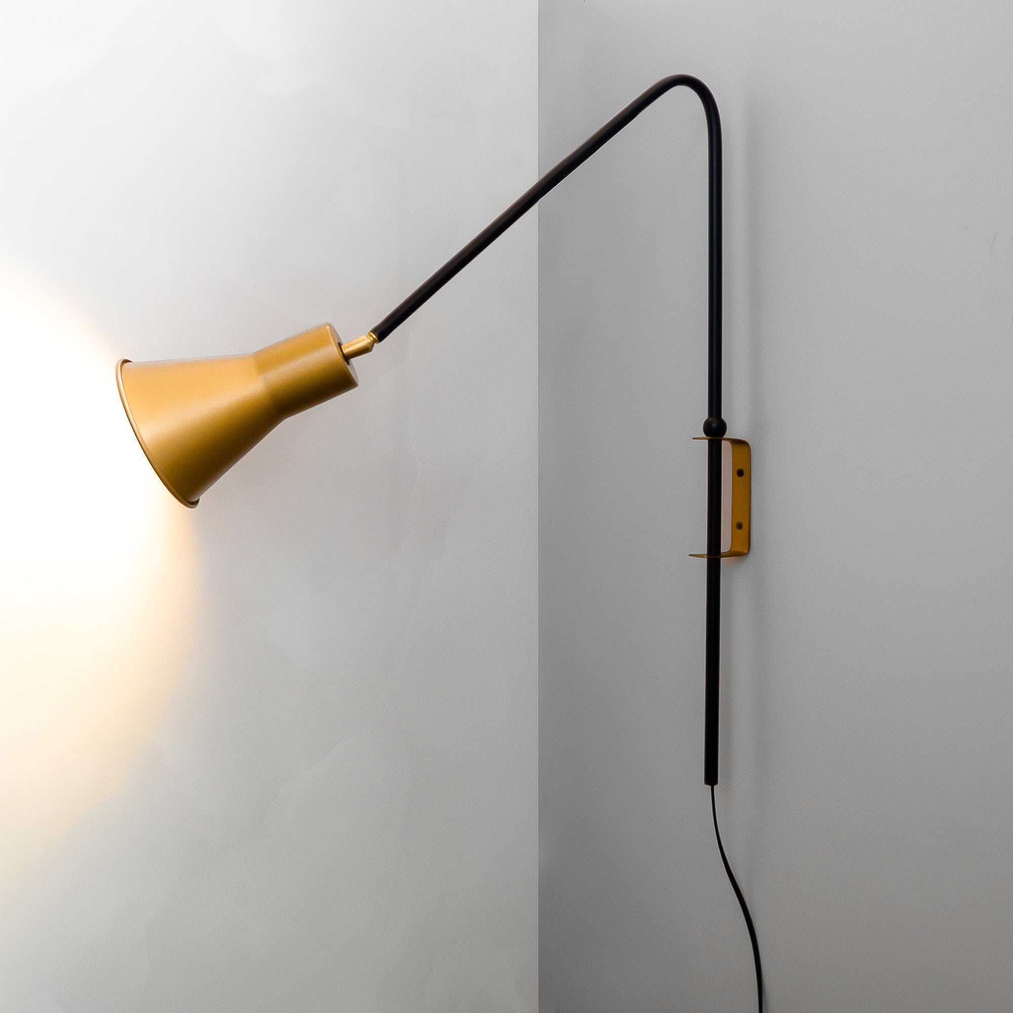 FSW 203 Gold Swivel Wall Sconce Adjustable Lampshade - The Black Steel