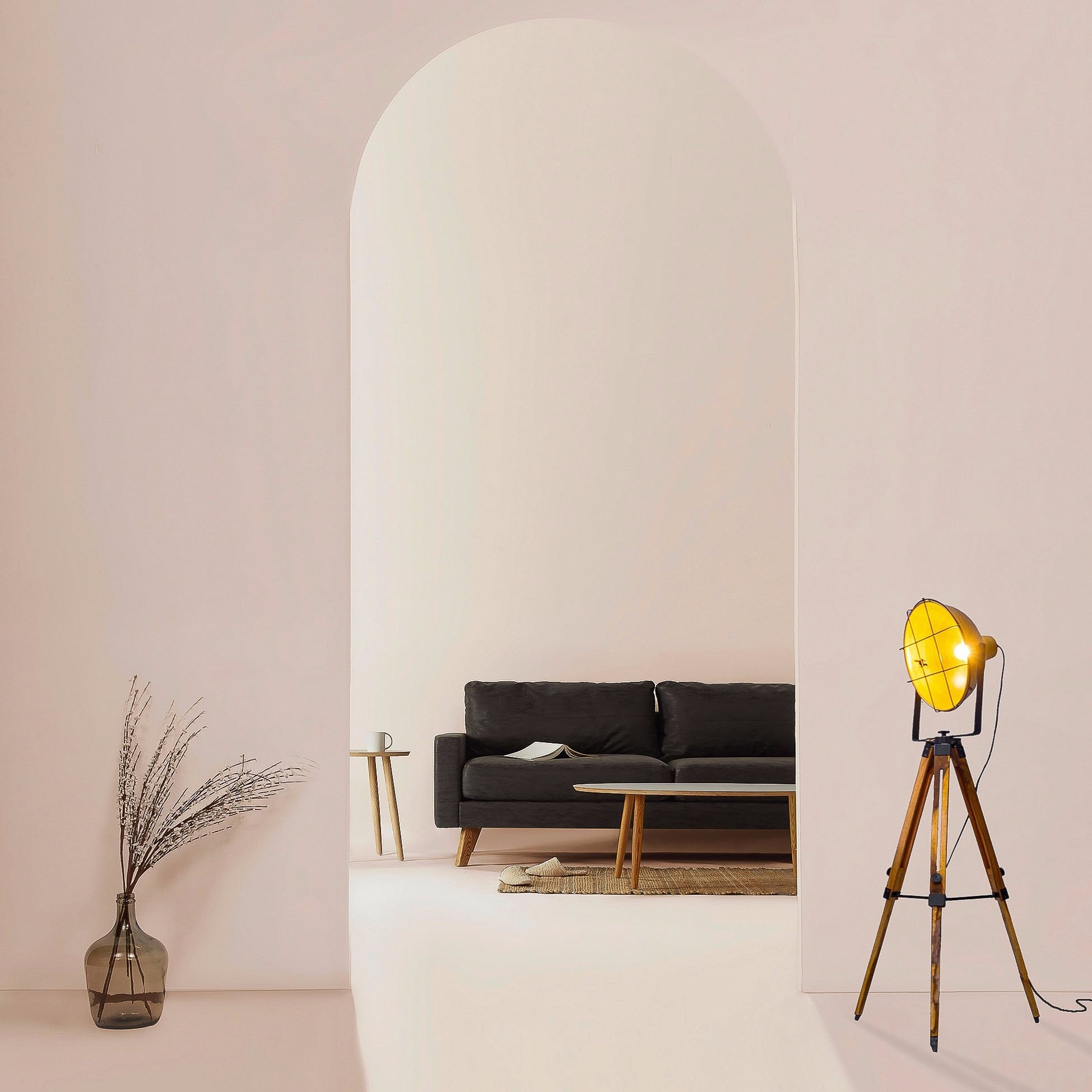 tripod floor lamp golden shade with black grill