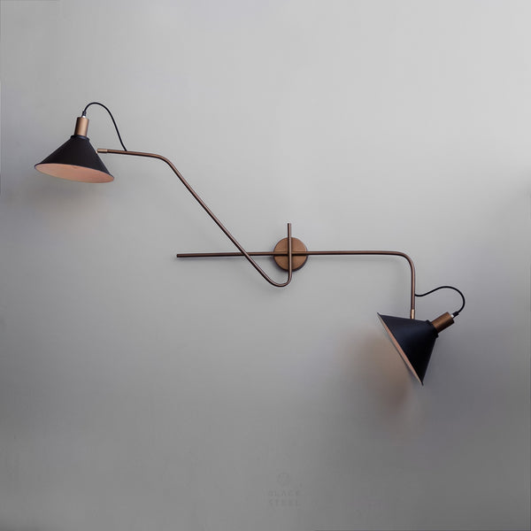 50Ninety Mid-Century Modern Wall Sconce Twin Lampshade - The Black Steel