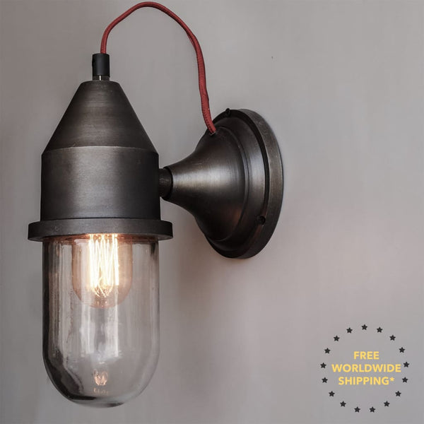 Aluminium Antique Finish Grey Mid-Century Wall Sconce - The Black Steel