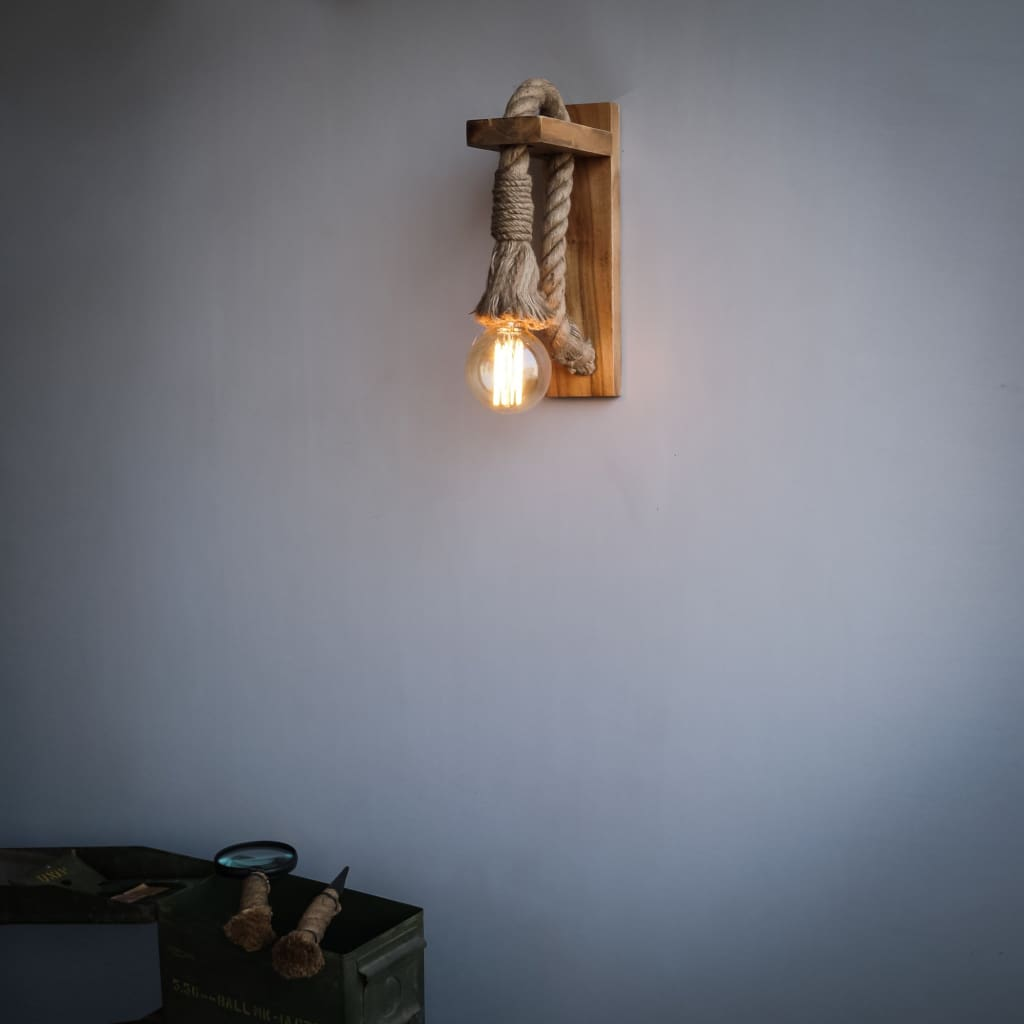 American Rope Wall Sconce Loft Interior Style Wooden Barn Lighting - The Black Steel