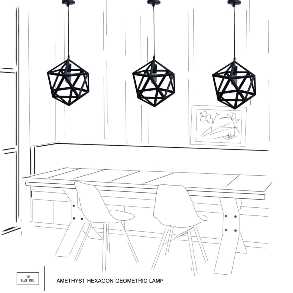 Amethyst Hexagon Geometric Industrial Pendant Light
