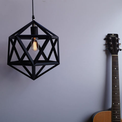Amethyst Hexagon Geometric Industrial Pendant Light - The Black Steel