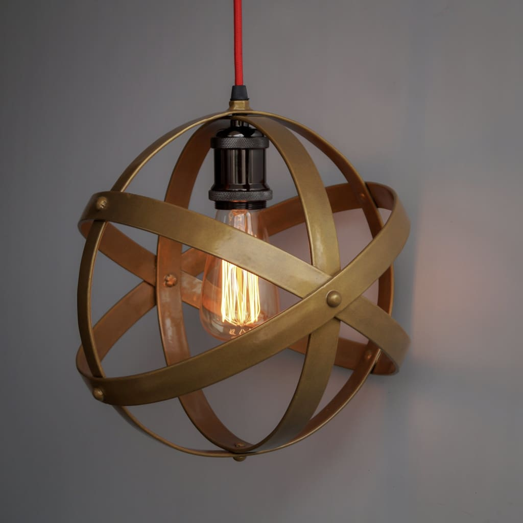 "Matte Gold Lampshade Armillary Design 11"" Pendant Light - The Black Steel"