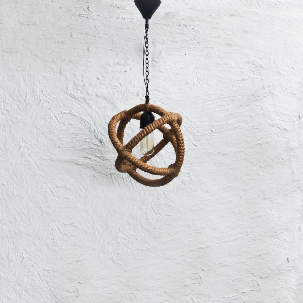 Arbelos Industrial Rope Pendant Light - The Black Steel