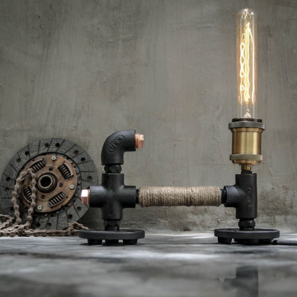 Arbetet Industrial Pipe Rope Desk Lamp - The Black Steel