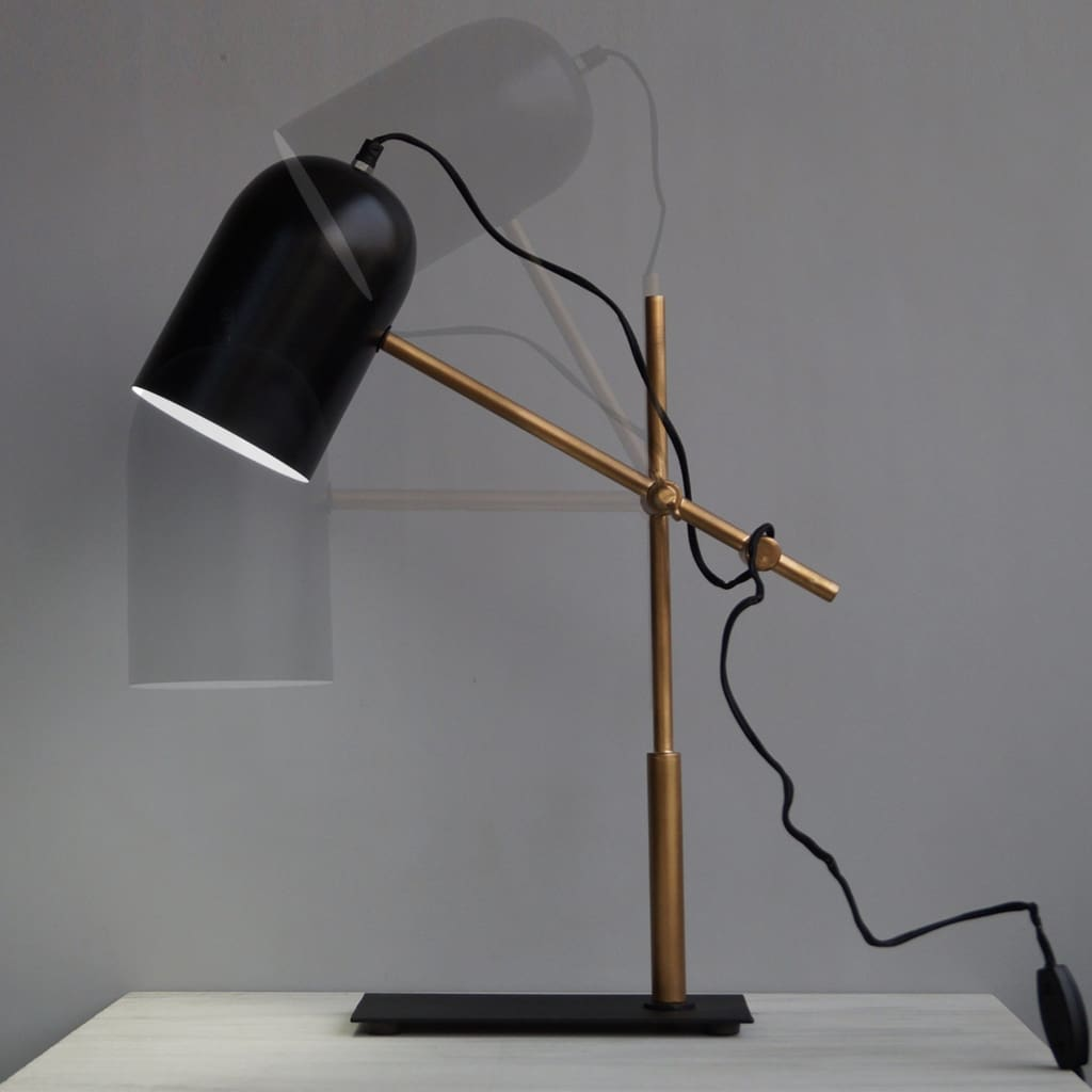 Architect Style Black-Gold Modern Office Desk Lamp With Adjustable Arm