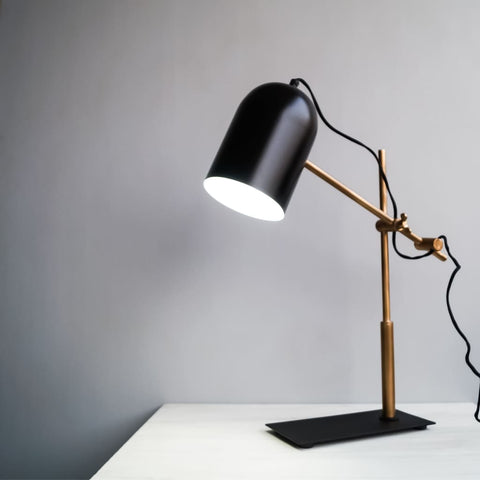 Architect Style Black-Gold Modern Office Desk Lamp With Adjustable Arm - The Black Steel