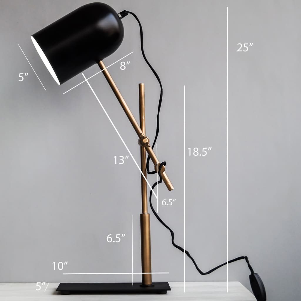 Shop Architect Style Black Gold Modern Office Adjustable Desk Lamp