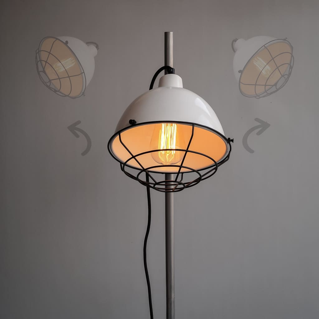 Ash Grey Modern Floor Lamp With Detachable Retro Grill - The Black Steel
