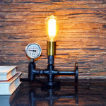 Auric Industrial Pressure Gauge Table Lamp - The Black Steel