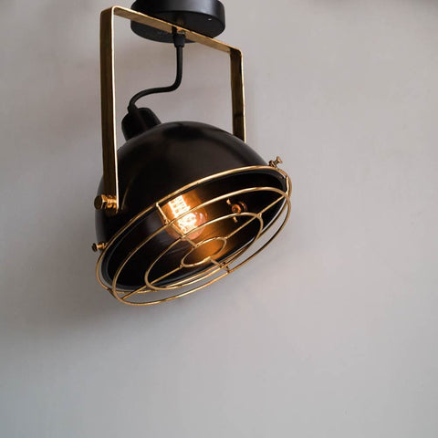 Black Gold Low Ceiling Lamp Vintage Style Lighting - The Black Steel
