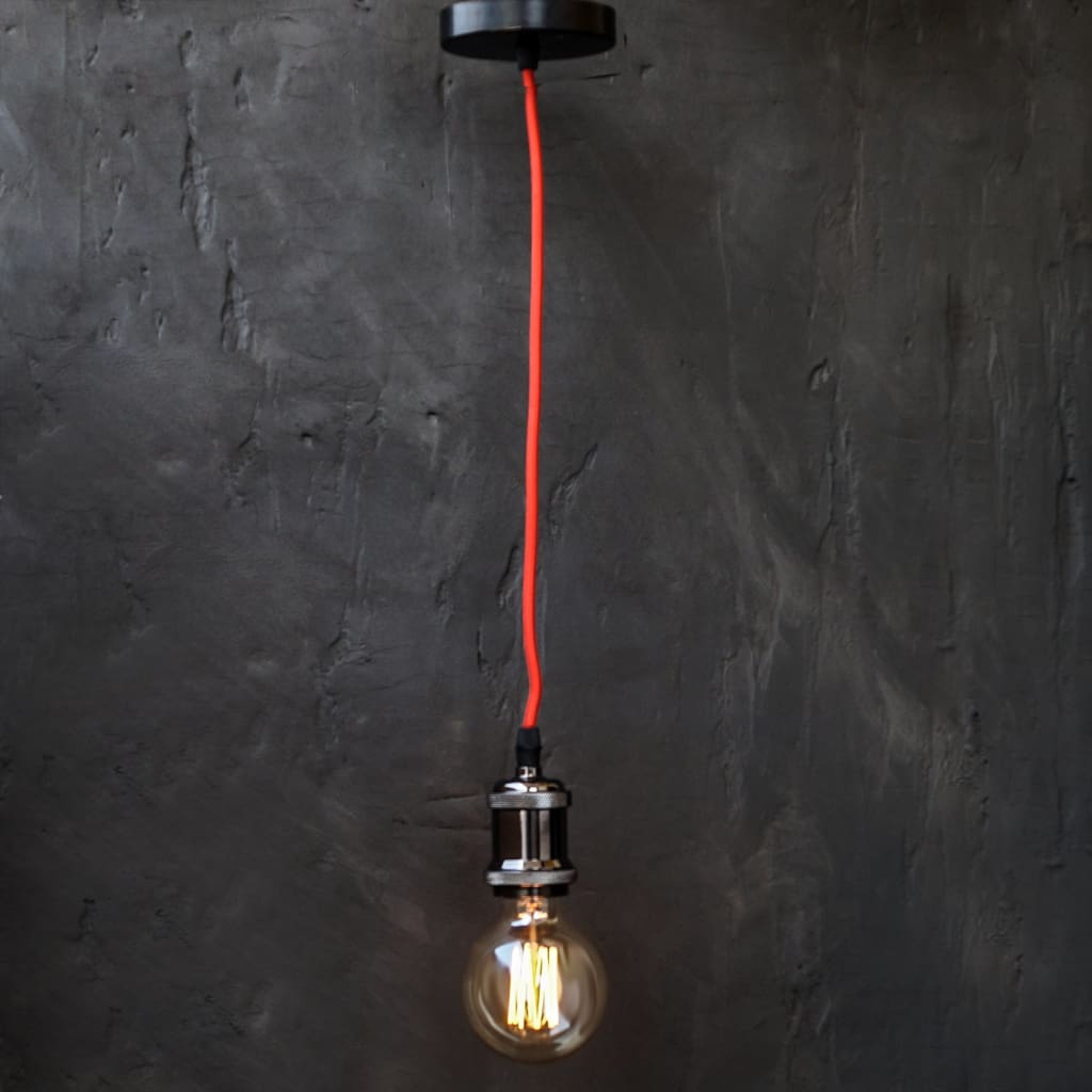 Black High Gloss Red Wire E27 Retro Edison Pendant Light Holder