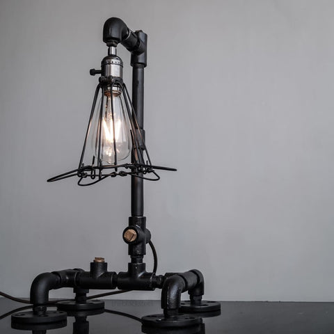 Black Retro Grill Iron Pipe Lamp Industrial Rustic Style Design - The Black Steel