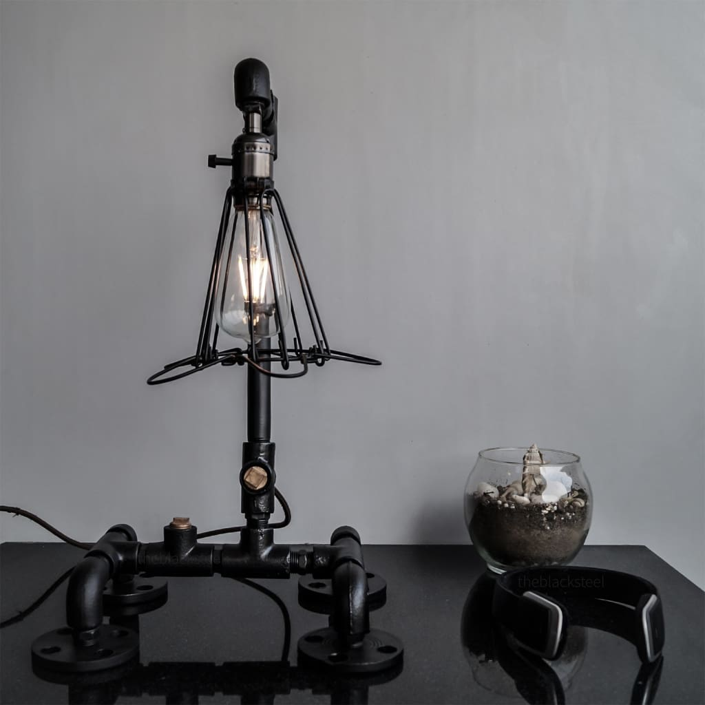 Black Retro Grill Iron Pipe Lamp Industrial Rustic Style Design