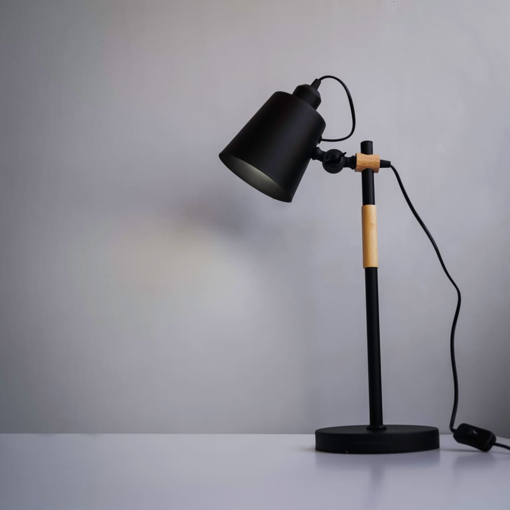 Black Scandinavian Interior Style Metal And Wood Table Lamp