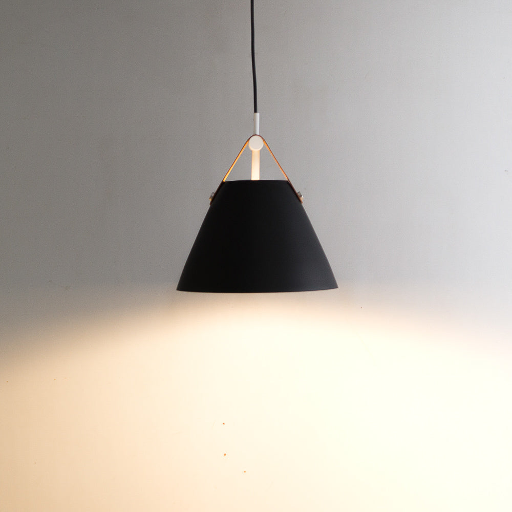 CLH145 Brown Leatherette Strap Black Metal Hanging Lamp