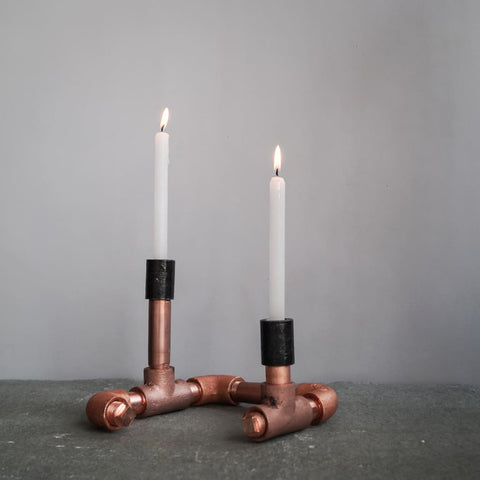 Chic Copper Candle Holder Vintage Style Industrial Pipe Decor - The Black Steel