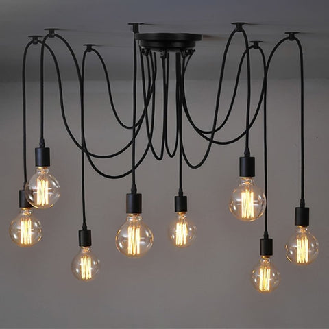 Classic Edison Lights 8 Heads Industrial Style Chandelier - The Black Steel