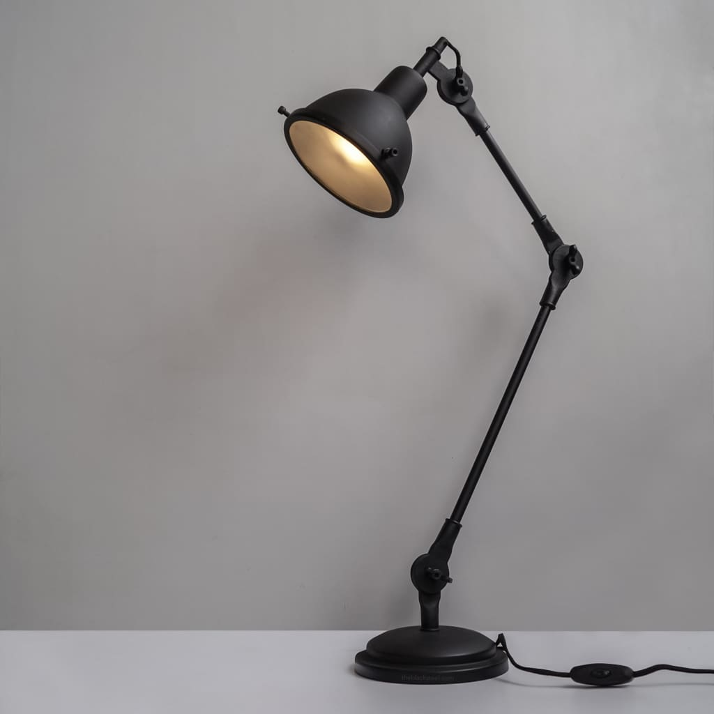 Coal Black Swing-Arm Industrial Desk Lamp With Frosted Glass Cover