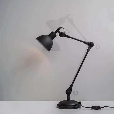 Coal Black Swing-Arm Industrial Desk Lamp With Frosted Glass Cover - The Black Steel